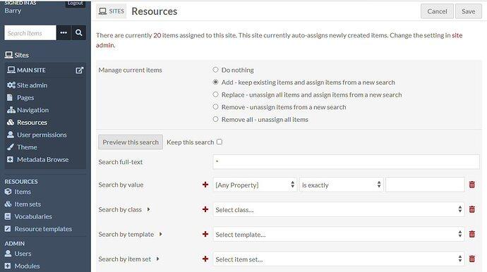 omeka manage resources